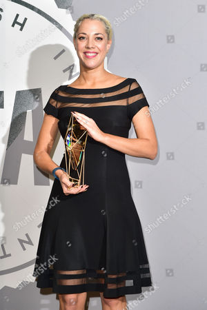 Camille Gatin with her award for Breakthrough Producer at The British Independent Film Awards (BIFA) at Old Billingsgate, London on the 4th December 2016.