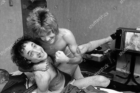 Carlos Cavazo and Kevin Dubrow of Quiet Riot in Their Hotel Room Before A Gig in 1984