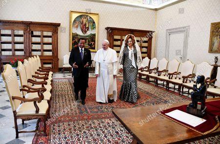 Pope Francis, Paul Biya and Chantal Biya