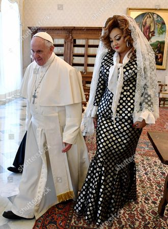 Stock Picture of Pope Francis and Chantal Biya