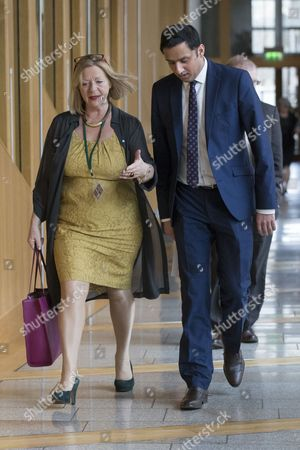 Scottish Parliament First Minister's Questions - Linda Fabiani, Deputy Presiding Office of The Scottish Parliament, and Anas Sarwar make their way to the Debating Chamber