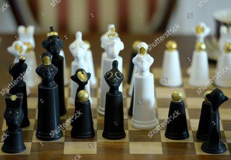 Editorial image of Unique porcelain Monkey Chess, Cmielow, Poland - 23 Mar 2017
