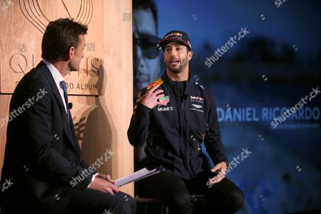 Stock Picture of Adam Gilchrist, Daniel Ricciardo Red Bull driver Daniel Ricciardo of Australia is interviewed by former Australian cricket player Adam Gilchrist during a promotional event in Melbourne, . Ricciardo is back in Melbourne for Sunday's season-opening Australian Grand Prix, where F1 rule changes requiring wider tires, greater aerodynamics, bigger fuel loads and increased downforce are expected to make the heavier cars significantly faster than previous years