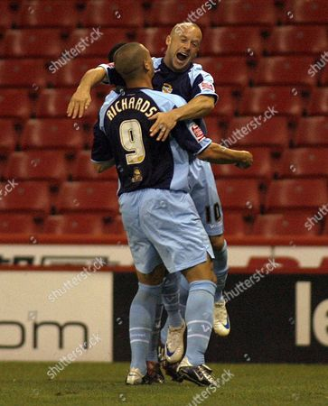 Luke Rodgers of Port Vale celebrates his equalising goal with team-mate Marc Richards
