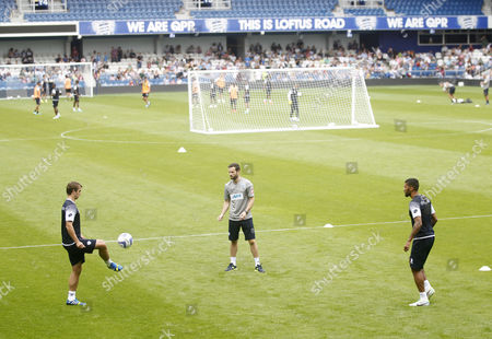 New signing Nico Kranjcar of QPR trains with Armand Traore at the Fans Open day, and training session, at Loftus Road