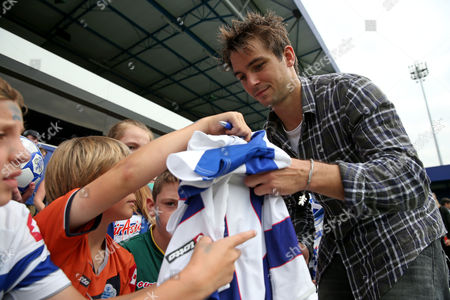 New signing Nico Kranjcar of QPR signs autographs for the fans at the Fans Open day, and training session, at Loftus Road