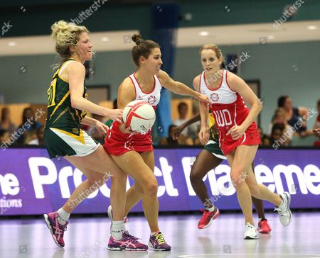Karla Mostert of South Africa tackles Mia Ritchie of England Netball