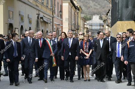 Stock Image of The mayor of Norcia Nicola Alemanno, the President of the European Parliament Antonio Tajani, Mairead McGuinness EPP and Gianni Pittella