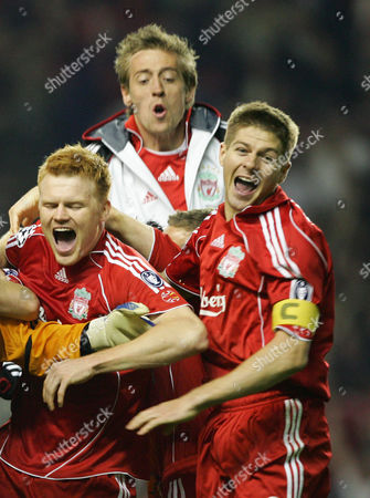 Liverpool players L-R John Arne Riise, Peter Crouch and Steven Gerrard celebrate victory