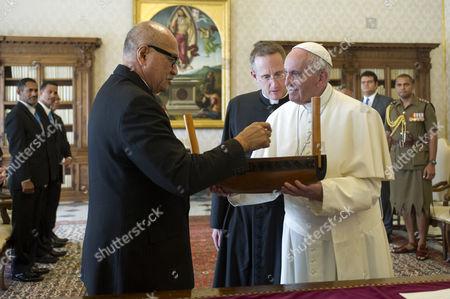 Stock Image of Jioji Konousi Konrote and Pope Francis