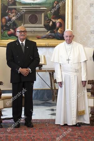 Stock Photo of Jioji Konousi Konrote and Pope Francis