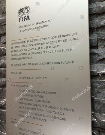 A plaque in the reception of FIFA headquarters in Zurich on bearing the names of former president Sepp Blatter and his executive committee colleagues in 2005. It commemorated when world soccer's governing body moved into its new offices in Zurich, but many of the officials were subsequently punished in ethics cases. The plaque has now been removed