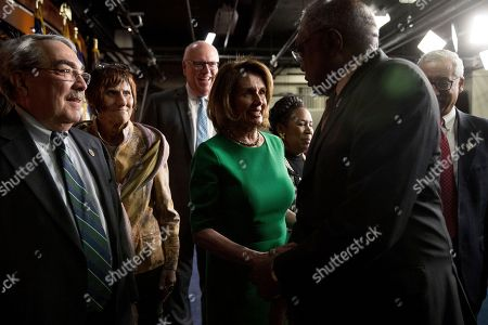 G. K. Butterfield, Rosa DeLauro, Joseph Crowley, Nancy Pelosi, Sheila Jackson, Jim Clyburn, Bobby Scott From left, Rep. G. K. Butterfield, D-N.C., Rep. Rosa DeLauro, D-Conn., Rep. Joseph Crowley, D-N.Y., House Minority Leader Nancy Pelosi of Calif., Rep. Sheila Jackson Lee, R-Texas, Rep. Jim Clyburn, D-S.C., and Rep. Bobby Scott, D-Va., depart after speaking at a news conference on Capitol Hill in Washington, . Republican leaders have abruptly pulled their troubled health care overhaul bill off the House floor, short of votes and eager to avoid a humiliating defeat for President Donald Trump and GOP leaders