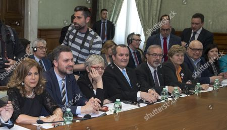 (L-R) Social partners, Emma Marcegaglia, Secretary General of CES, Luca Visentini; Secretary General of CISL, Annamaria Furlan; Secretary General of UIL, Carmelo Barbagallo and Secretary General of CGIL, Susanna Camusso, during a meeting with members of European Institutions at Chigi Palace in Rome, Italy, 24 March 2017. The meeting is part of the 60th anniversary of the signing of the Treaty of Rome celebrations in the Italian capital.