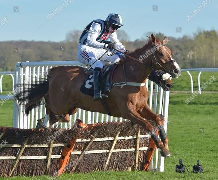 Sir Anthony Browne (Wayne Hutchinson) takes the last before going on to win The John Haine Memorial Novices? Hurdle Race at Newbury Racecourse on Saturday 25th March 2017.