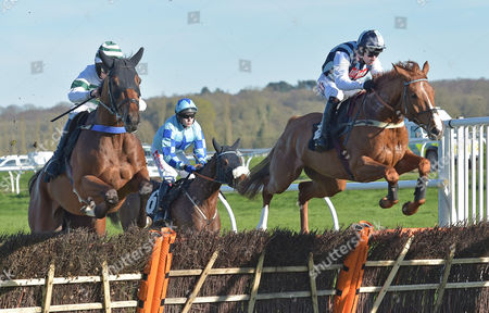 (R) Sir Anthony Browne (Wayne Hutchinson) takes the last on the last circuit before going on to win The John Haine Memorial Novices? Hurdle Race at Newbury Racecourse on Saturday 25th March 2017.