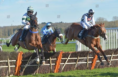 (R) Sir Anthony Browne (Wayne Hutchinson) takes the last on the first circuit before going on to win The John Haine Memorial Novices? Hurdle Race at Newbury Racecourse on Saturday 25th March 2017.
