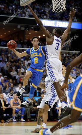 Lonzo Ball, Edrice Adebayo UCLA guard Lonzo Ball (2) drives against Kentucky forward Edrice Adebayo (3) in the second half of an NCAA college basketball tournament South Regional semifinal game, in Memphis, Tenn