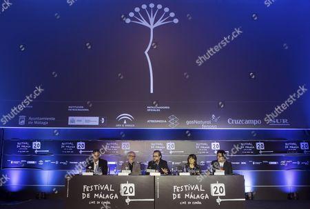 Stock Photo of Members of the festival jury Elio Castro (L), Emilio Martinez Lazaro (2-L), president of the jury Juan Antonio Vigar (C), director of the festival Marian Matachana (2-R) and Fernando Vilchez (R) announce winners during the 20th Malaga Film Festival, in Malaga, Spain, 25 March 2017. The event runs from 17 to 26 March.
