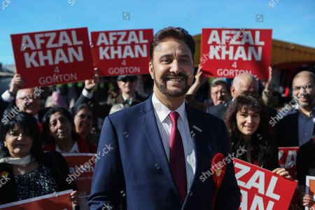 Afzal Khan, Labour's candidate in the Gorton by-election, launches his campaign at Longsight Market in Manchester