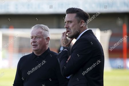 Crawley Town manager Dermot Drummy and Leyton Orient manager Danny Webb during the EFL Sky Bet League 2 match between Crawley Town and Leyton Orient at the Checkatrade.com Stadium, Crawley