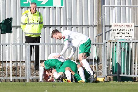 Bognor Regis Town midfielder James Fraser scores a goal 1-0 and celebrates during the Ryman Premier League match between Bognor Regis Town and Canvey Island at Nyewood Lane, Bognor