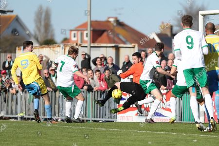 Bognor Regis Town midfielder James Fraser scores a goal 1-0 during the Ryman Premier League match between Bognor Regis Town and Canvey Island at Nyewood Lane, Bognor