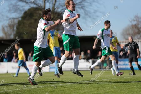 Stock Image of Bognor Regis Town midfielder James Fraser takes a penalty and scores a goal 2-0 and celebrates  during the Ryman Premier League match between Bognor Regis Town and Canvey Island at Nyewood Lane, Bognor