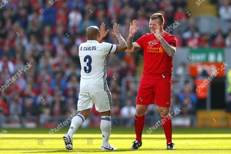 Roberto Carlos and John Arne Riise during the LFC Foundation Charity match between Liverpool Legends and Real Madrid Leyendas played at Anfield, Liverpool, on 25th March 2017