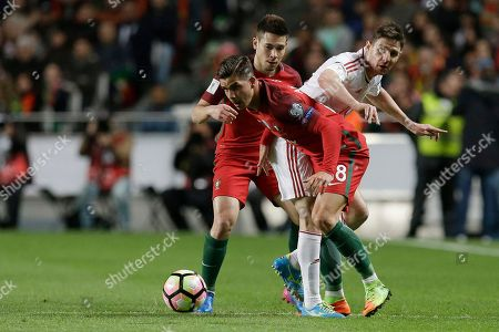 Stock Photo of Zoltan Gera, Andre Silva Portugal's Andre Silva, front, duels for the ball with Hungary's Zoltan Gera, right, during the World Cup Group B qualifying soccer match between Portugal and Hungary at the Luz stadium in Lisbon