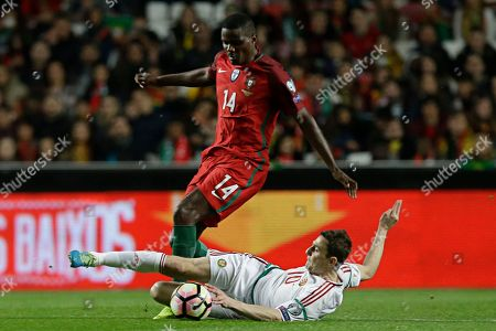Zoltan Gera, William Carvalho Portugal's William Carvalho, up, duels for the ball with Hungary's Zoltan Gera, during the World Cup Group B qualifying soccer match between Portugal and Hungary at the Luz stadium in Lisbon