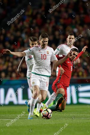 Zoltan Gera, Andre Silva Hungary's Zoltan Gera, left, duels for the ball with Portugal's Andre Silva, right, during the World Cup Group B qualifying soccer match between Portugal and Hungary at the Luz stadium in Lisbon