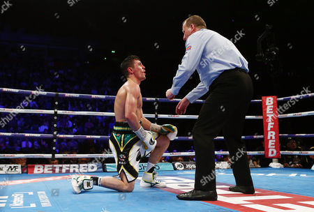 Anthony Crolla is counted during the WBA WBC Diamond and Ring Magazine Lightweight World Championship fight with Jorge Linares at the MEN Arena, Manchester, on 25th March 2017