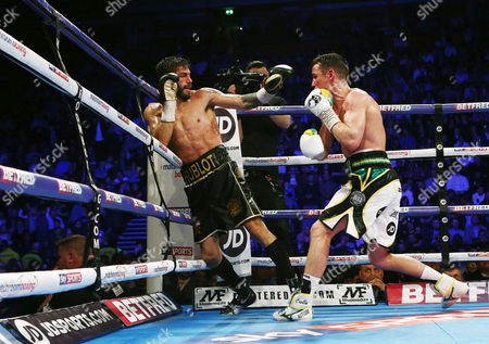 Jorge Linares and Anthony Crolla during the WBA WBC Diamond and Ring Magazine Lightweight World Championship fight at the MEN Arena, Manchester, on 25th March 2017