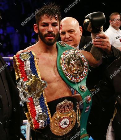 Jorge Linares after the WBA WBC Diamond and Ring Magazine Lightweight World Championship fight with Anthony Crolla at the MEN Arena, Manchester, on 25th March 2017
