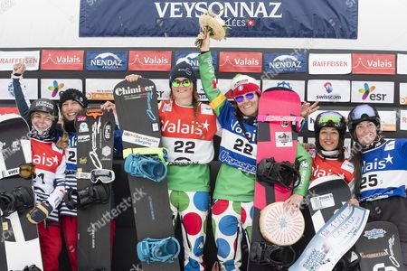 (L-R) second placed Nelly Moenne Loccoz and Chloe Trspeuch from France, winner Michela Moioli and Raffaella Brutto from Italy and third placed Carle Brenneman and Tess Critchlow from Canada celebrate on the podium during the Women's Snowboardcross Team competition at the FIS Snowboard World Cup in Veysonnaz, Switzerland, 26 March 2017.