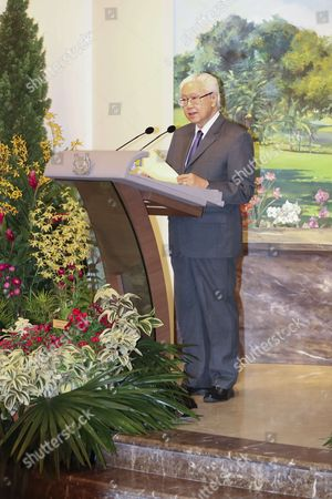 President of Singapore Tony Tan Kem Yang during the official welcome ceremony at Istana Presidential Palace