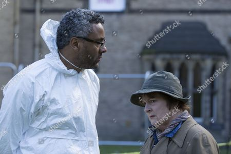 Stock Image of Brenda Blethyn as DCI Vera Stanhope and Christopher Colquhoun as Dr Anthony Carmichael.