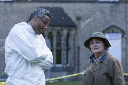 Brenda Blethyn as DCI Vera Stanhope and Christopher Colquhoun as Dr Anthony Carmichael.