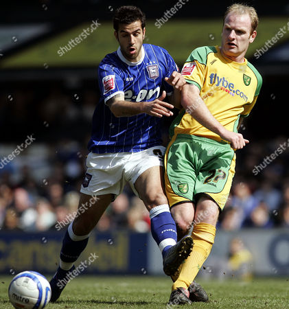Pablo Counago of Ipswich town challenges Gary Doherty of Norwich City