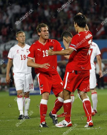 Ivica Vastic of Austria celebrates his equalising goal with team-mate Jurgen Saumel