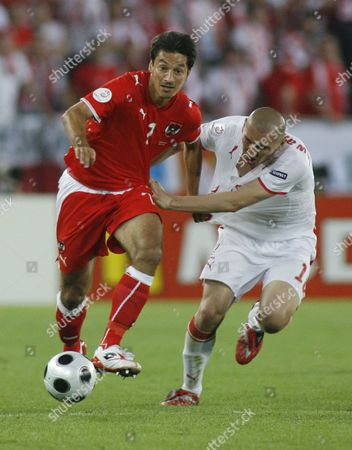 Stock Picture of Ivica Vastic of Austria and Mariusz Lewandowski of Poland