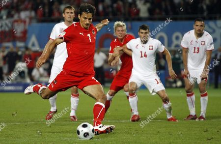 Stock Image of Ivica Vastic of Austria scores the equalising goal from the penalty kick