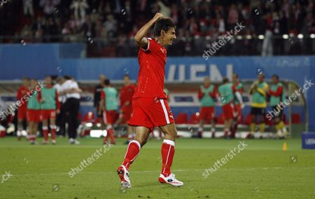 Ivica Vastic of Austria celebrates his equalising