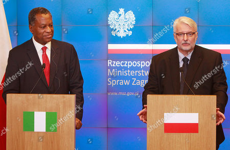 Geoffrey Onyeama, Witold Waszczykowski Polish Minister of Foreign Affairs Witold Waszczykowski,right, and Minister of Foreign Affairs of Nigeria Geoffrey Onyeama hold a press conference after a meeting at the Polish foreign ministry's headquarters in Warsaw, Poland