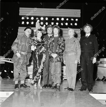 Jim Davidson on stage. L to R, Windsor Davies, unknown, Tony Selby, Jim Davidson, Clive Dunn and Bill Pertwee