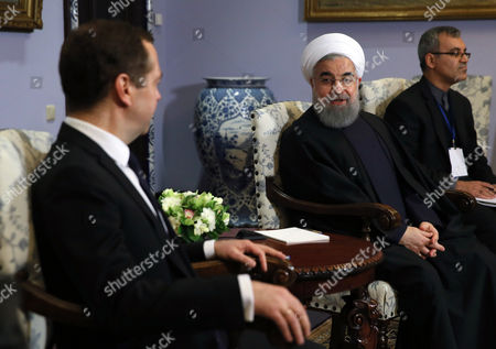 Hassan Rouhani and Dimitry Medvedev