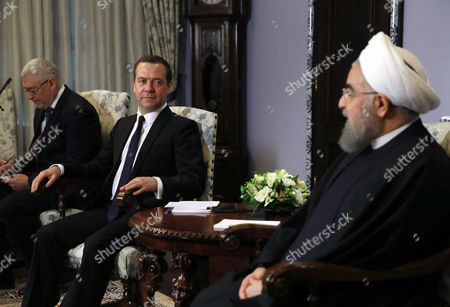Stock Photo of Hassan Rouhani and Dimitry Medvedev