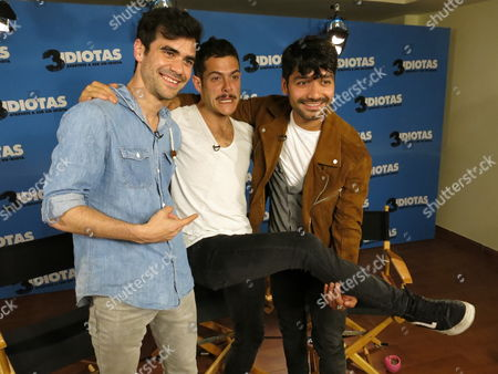 "German Valdez, left, Alfonso Dosal, center, and Christian Vazquez of the film ""3 Idiotas"" pose for a photo during a press conference in Mexico City on Monday, March, 27, 2017. The comedy about three friends from university is a remake of the Bollywood film 3 Idiots. It premieres on March 31 in Mexico"