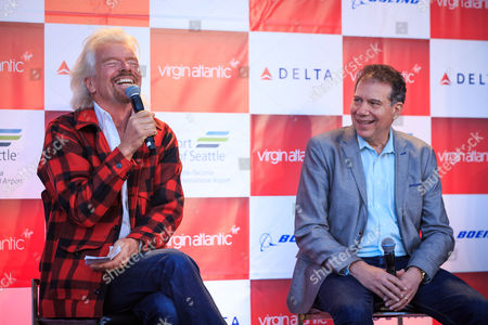 Sir Richard Branson and Virgin Atlantic CEO Craig Kreeger.   Sir Richard Branson speaks to the media at a press conference at Seattle Tacoma International Airport to celebrate Virgin Atlantic's new route between London Heathrow and Seattle.